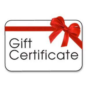 Black text reads Gift Certificate with red ribbon bow on upper right side corner.