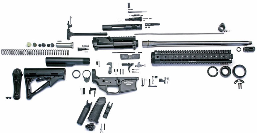Image of parts of rifle